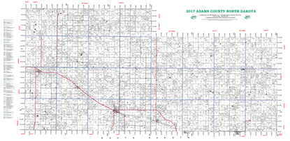 Picture of Adams,ND Plat Wall Map-2018
