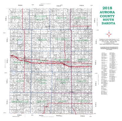 Picture of Aurora,SD Plat Wall Map-2019