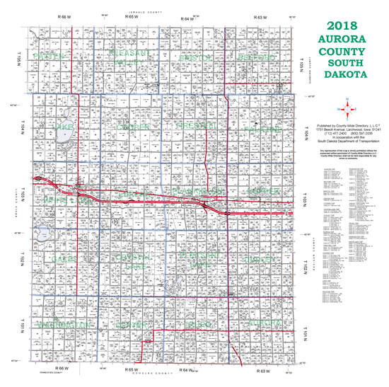 Picture of Aurora,SD Plat Wall Map