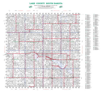 Picture of Lake,SD Plat Wall Map-2019